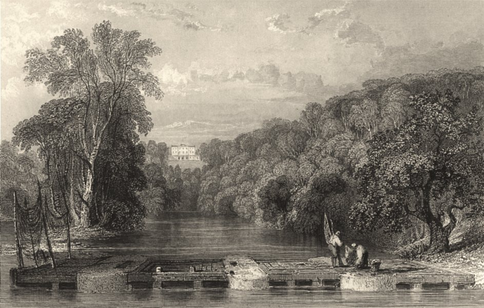 Associate Product CUMBRIA. Corby Castle, Cumbs. Henry Howard. Salmon Weir. Nets.  1832 old print