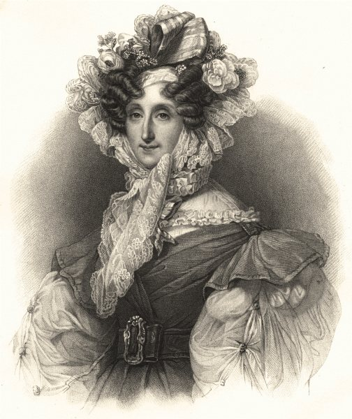 Associate Product ROYALTY. Marie- Amélie, Queen of the French 1845 old antique print picture