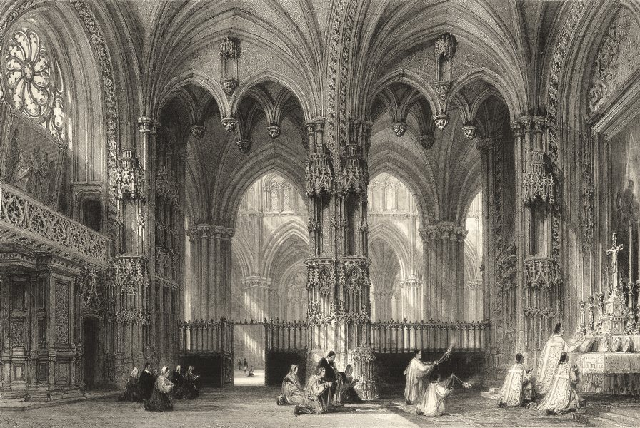 Associate Product RHÔNE. The Cathedral of Lyons, from the Chapel of St. Louis. Allom 1845 print