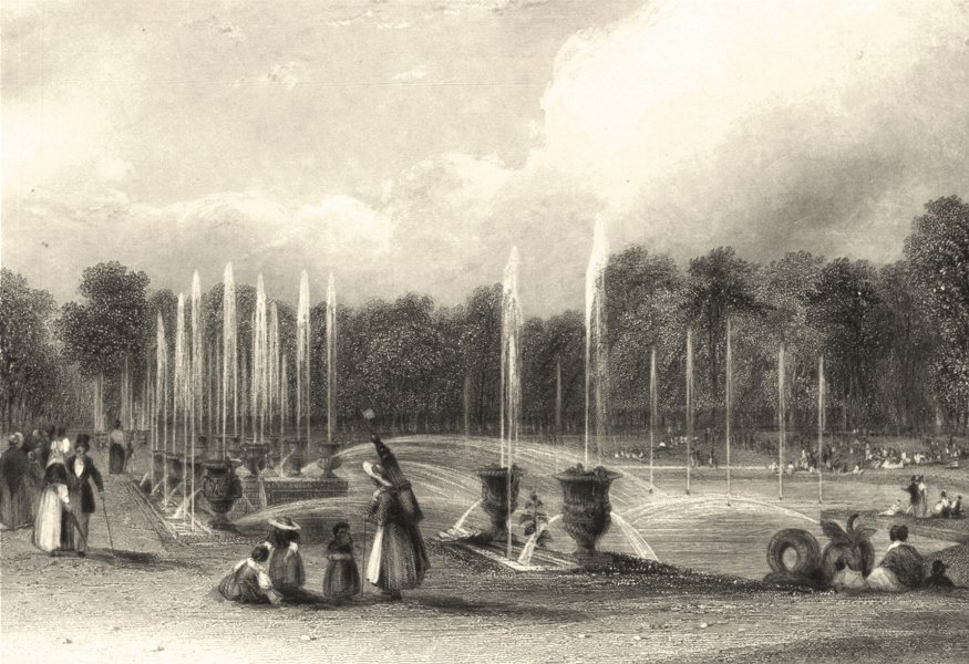 Associate Product YVELINES. The basin of Neptune Versailles 1839 old antique print picture