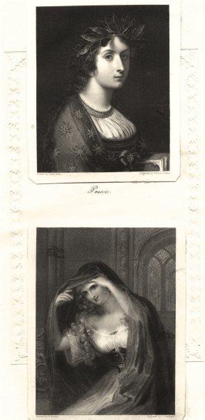 Associate Product PRETTY LADIES. Poesie. Finden c1840 old antique vintage print picture
