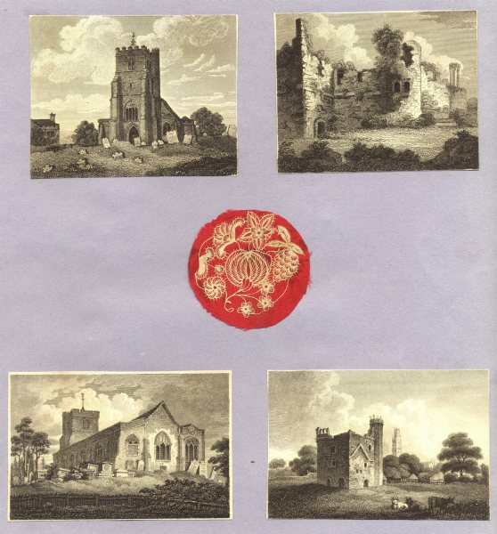 Associate Product CHURCHES. 4 small trimmed Copperplate on backing paper c1840 old antique print