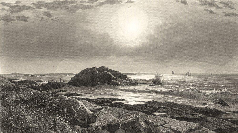 Associate Product RHODE ISLAND. Indian Rock, Narrangansett 1874 old antique print picture