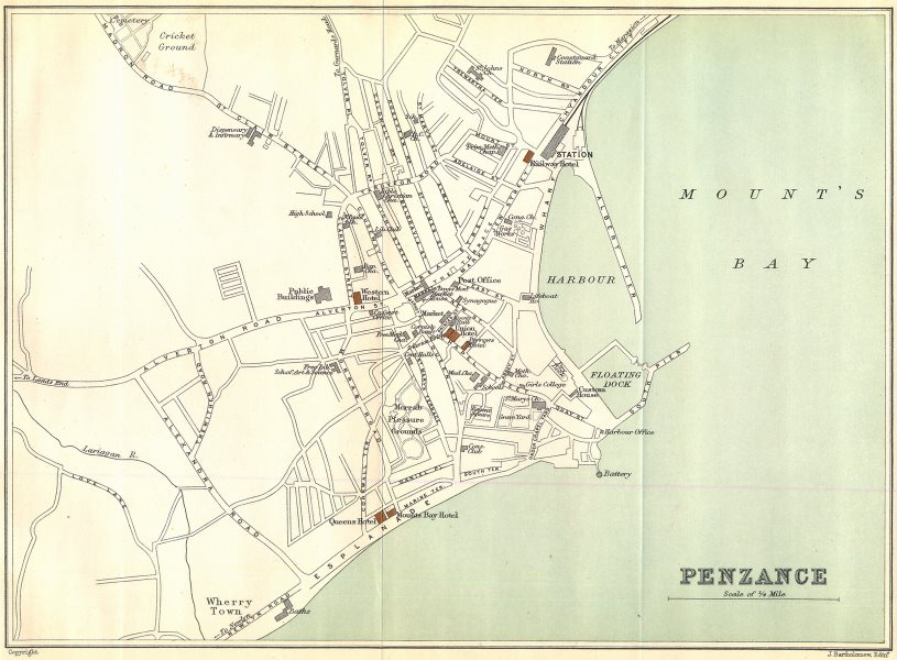 Associate Product PENZANCE vintage town/city plan. Cornwall. WARD LOCK 1897 old antique map