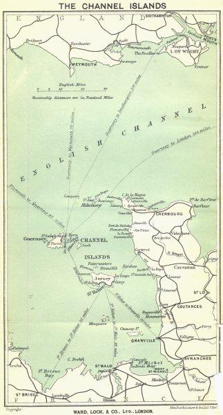 Associate Product CHANNEL ISLANDS. Jersey Guernsey Sark Cotentin peninsula. WARD LOCK 1925 map