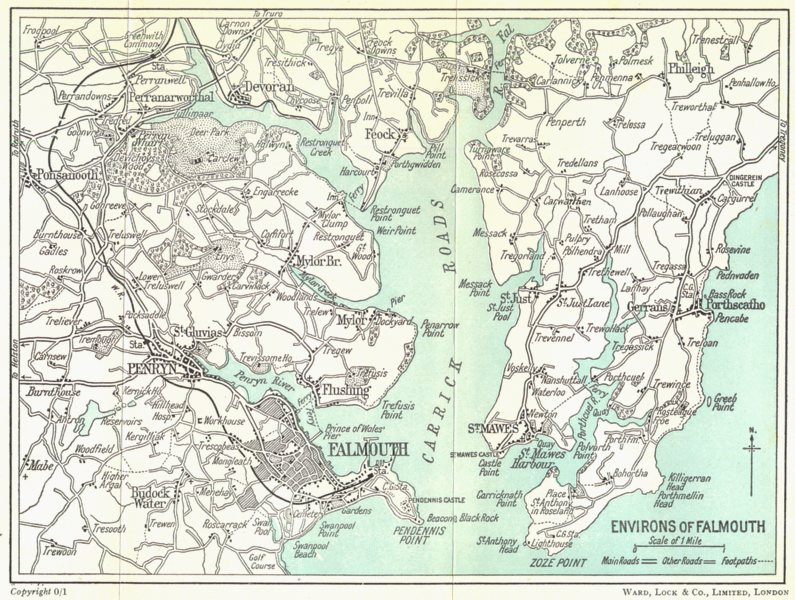 Associate Product FALMOUTH ENVIRONS. Falmouth Carrick Roads St Mawes Penrhyn. WARD LOCK c1955 map