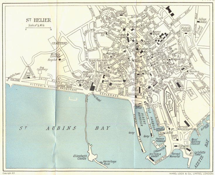 ST. HELIER vintage town/city plan. Jersey Channel Islands. WARD LOCK c1967 map