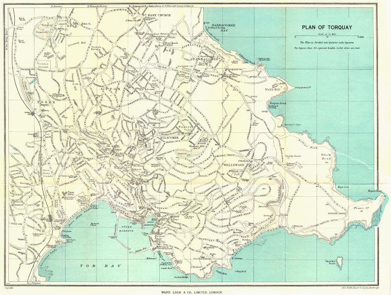 Associate Product TORQUAY vintage town/city plan. Devon. WARD LOCK 1952 old vintage map chart