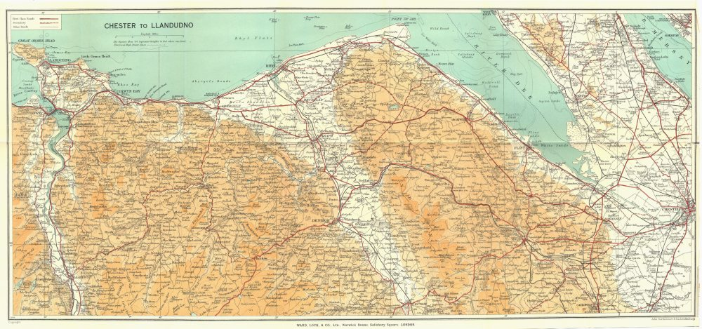 Associate Product WALES. Chester to Llandudno. WARD LOCK 1936 old vintage map plan chart