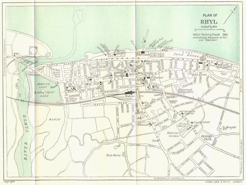 Associate Product WALES. Plan of Rhyl. WARD LOCK 1936 old vintage map chart