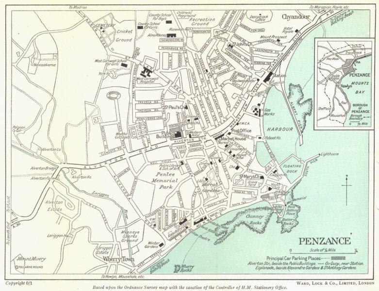 Associate Product PENZANCE vintage town/city Plan. Cornwall. WARD LOCK 1952 old vintage map