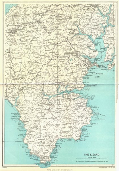 Associate Product CORNWALL. The Lizard Falmouth Truro Camborne Redruth. WARD LOCK 1952 old map