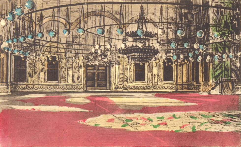 Associate Product EGYPT. Cairo. Interior of the Mosque Mohamed Aly. Hand coloured. 1900 print