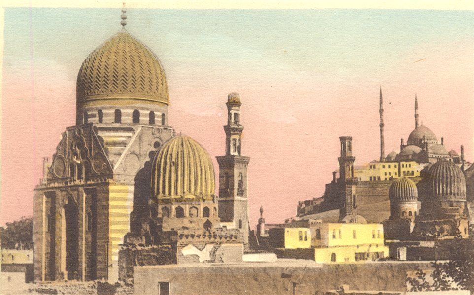 Associate Product EGYPT. Cairo. The Tombs of the Mamelouks. Hand coloured. 1900 old print