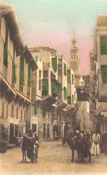 Associate Product EGYPT. Cairo. Street in Old Cairo. Hand coloured. 1900 antique print
