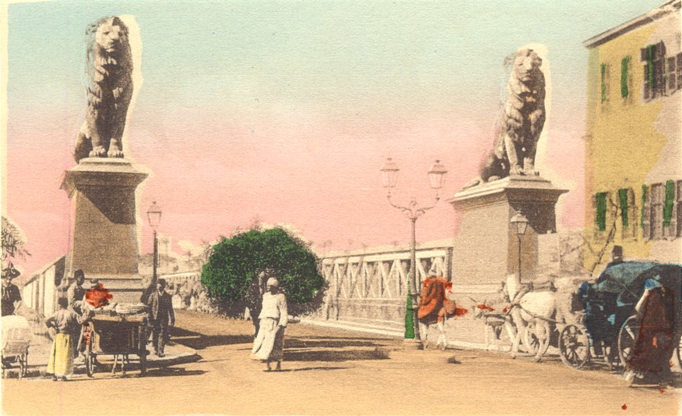 EGYPT. Cairo. Kasr-el-Nil Bridge. Hand coloured. 1900 old antique print