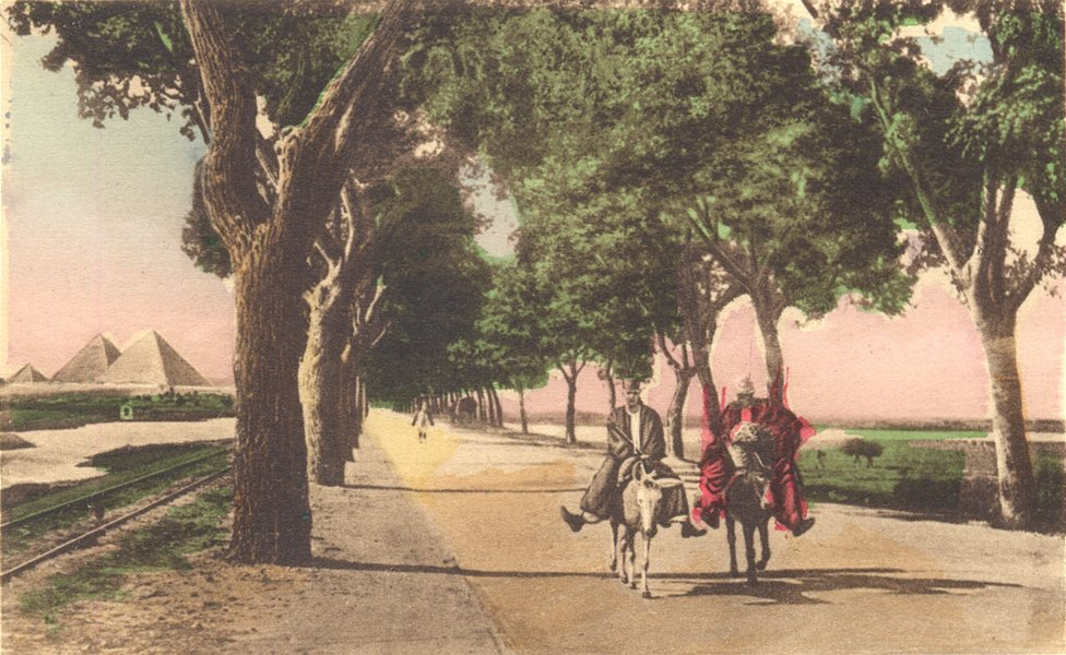 Associate Product EGYPT. Cairo. On the Way to The Pyramids. Hand coloured. 1900 old print