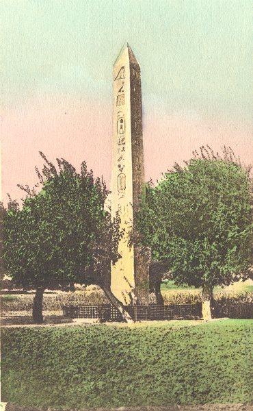 EGYPT. Mataria. The Obelisq of Baalbek. Hand coloured. 1900 old antique print