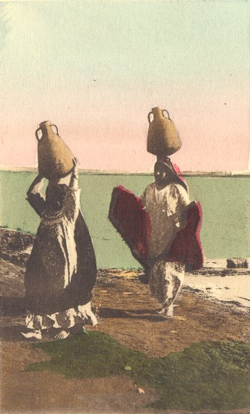 Associate Product EGYPT. Native women carrying water from the Nile. Hand coloured. 1900 print