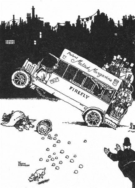 Associate Product HEATH ROBINSON. Bus passengers throwing weight to stop motor accident.SMALL 1935