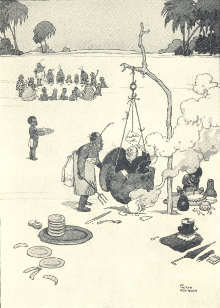 Associate Product HEATH ROBINSON. Missionary diverting cannibal to avoid being eaten. SMALL 1935