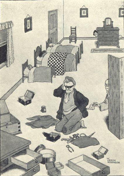 Associate Product HEATH ROBINSON. Householder picking the pocket of a cat-burglar. SMALL 1935