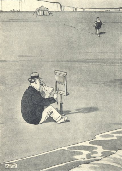 HEATH ROBINSON. Modesty Blind for delicate situations at the seaside. SMALL 1935