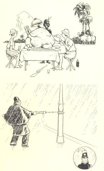 Associate Product HEATH ROBINSON. Christmas Efforts. Turkey beach. Policeman pulling cracker 1935