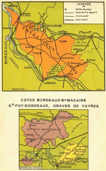 Associate Product WINE MAP.Entre-deux-Mers;Cotes Bordeaux-St-Macaire Ste.Foy.Graves Vayres 1939