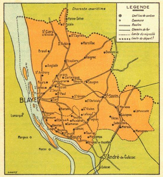 Associate Product BORDEAUX WINE MAP. Carte du Blayais et du Bourgeais 1939 old vintage chart