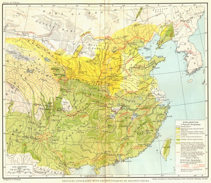Associate Product CHINA. Physical Geography with the boundaries of Ancient China 1935 old map