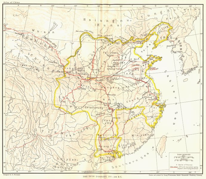 Associate Product CHINA. The TsIn Dynasty, 255-206 B. C. 1935 old vintage map plan chart