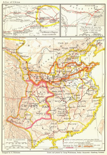 Associate Product CHINA. Western Tsin Dynasty 265-316 AD; Lou-Ian ruins 1935 old vintage map