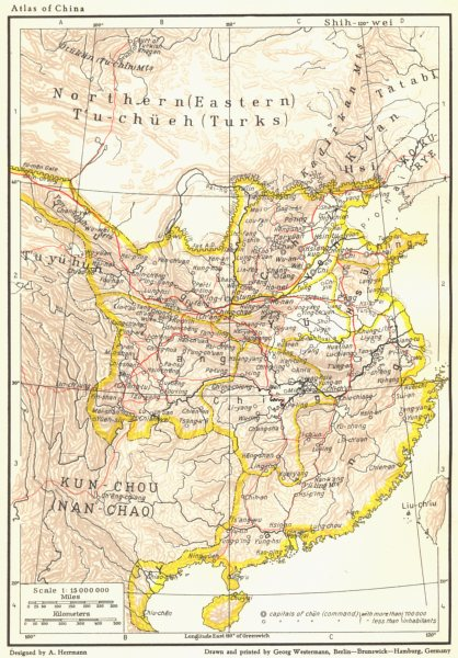 Associate Product CHINA. The Sui Dynasty, 581-618 A. D. 1935 old vintage map plan chart