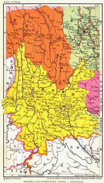 Associate Product SOUTH WEST CHINA. Political. Provinces. Yunnan Sichuan 1935 old vintage map