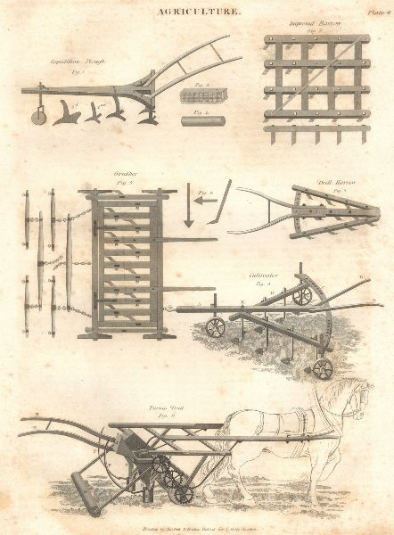 Associate Product FARMING MACHINE.Expedition Plough;Improved,Drill Harrow;Grubber;Cultivator 1830