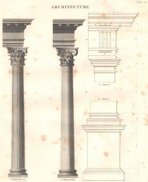 Associate Product ARCHITECTURE ORDERS.Corinthian;Composite columns.(Oxford Encyclopaedia) 1830