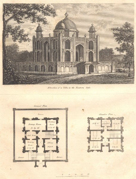 Associate Product CIVIL ARCHITECTURE. Elevation and plan of a villa in the Eastern Style 1830