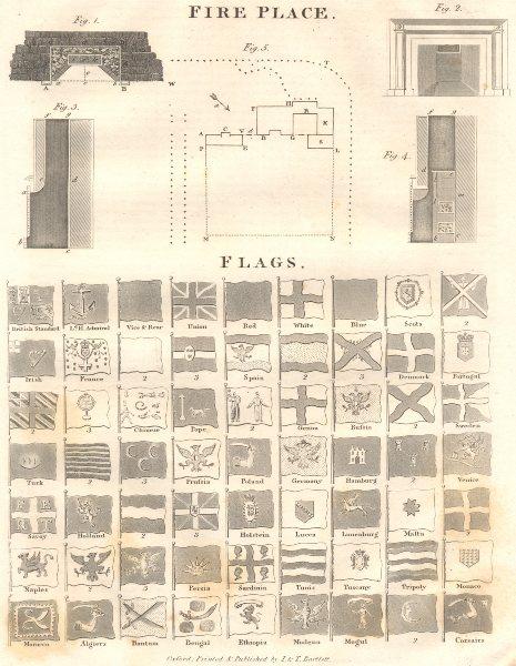 Associate Product FLAGS.Mongul Corsairs Pope Holstein Lucca Malta Persia(Iran)Savoy;Fireplace 1830