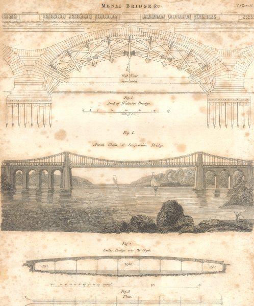 Associate Product BRIDGES. Menai chain bridge. Waterloo Bridge arch. Clyde timber bridge 1830