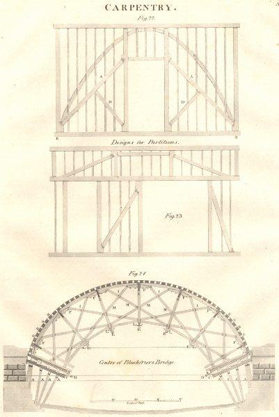 Associate Product CARPENTRY. Blackfriars bridge. Designs for partitions 1830 old antique print