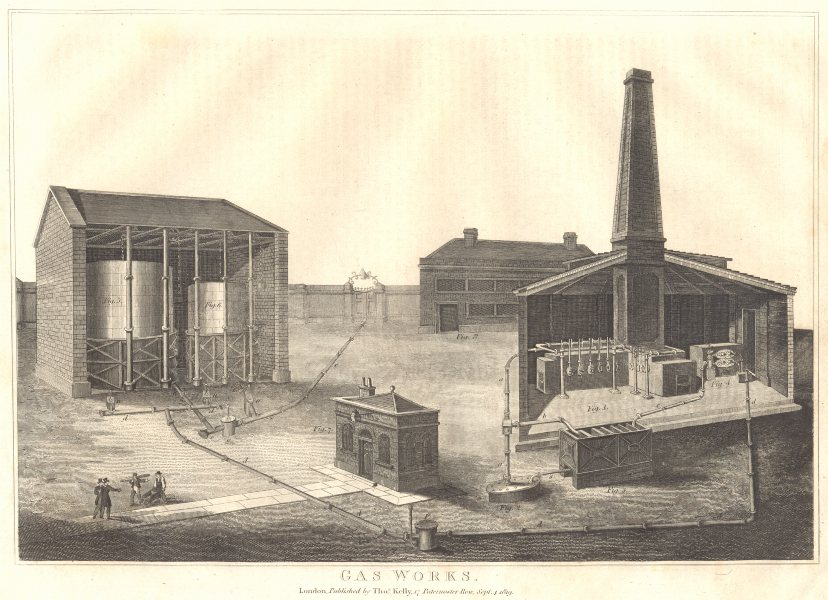 Associate Product MANUFACTURING. Gas works. (Oxford Encyclopaedia) 1830 old antique print