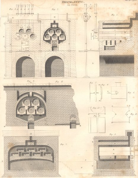 Associate Product MANUFACTURING. Bricklaying Gas Works. (Oxford Encyclopaedia) 1830 old print