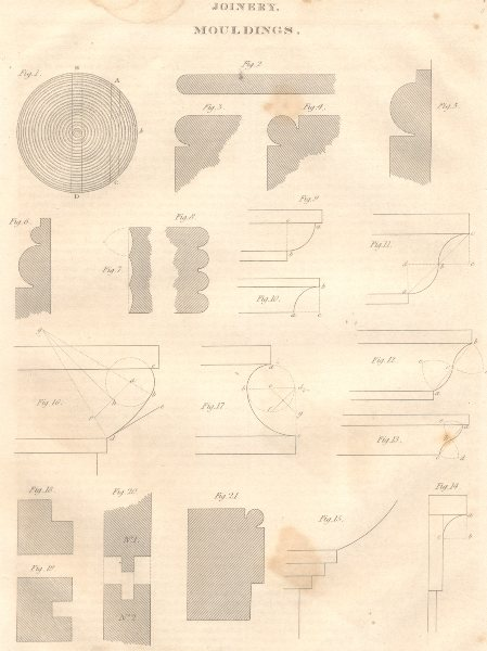 Associate Product JOINERY. Mouldings. (Oxford Encyclopaedia) 1830 old antique print picture