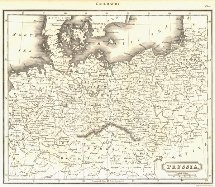 Associate Product PRUSSIA. Central Europe. Bohemia. Poland. (Oxford Encyclopaedia) 1830 old map