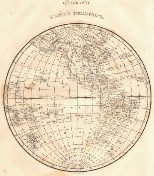 Associate Product WESTERN HEMISPHERE.North America South America.(Oxford Encyclopaedia) 1830 map