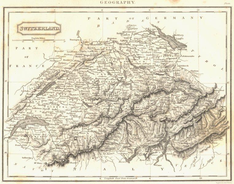 Associate Product SWITZERLAND. Switzerland. (Oxford Encyclopaedia) 1830 old antique map chart