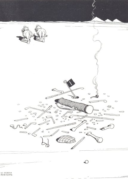 Associate Product HEATH ROBINSON GOLF. One in two-A tragedy of the Sahara Golf Course 1975 print