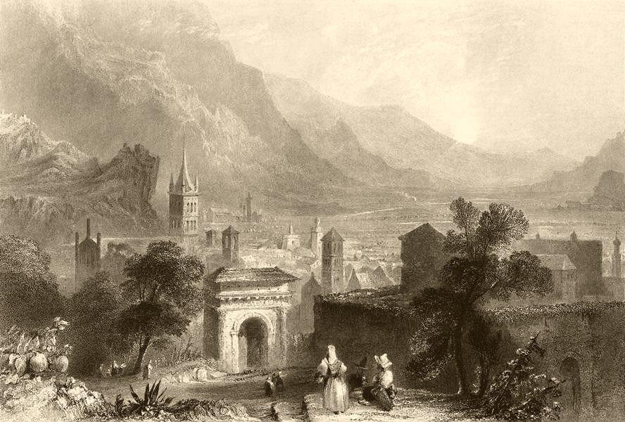 Associate Product PIEDMONT/PIEMONTE. View of Susa. Town view. Church. BARTLETT 1838 old print