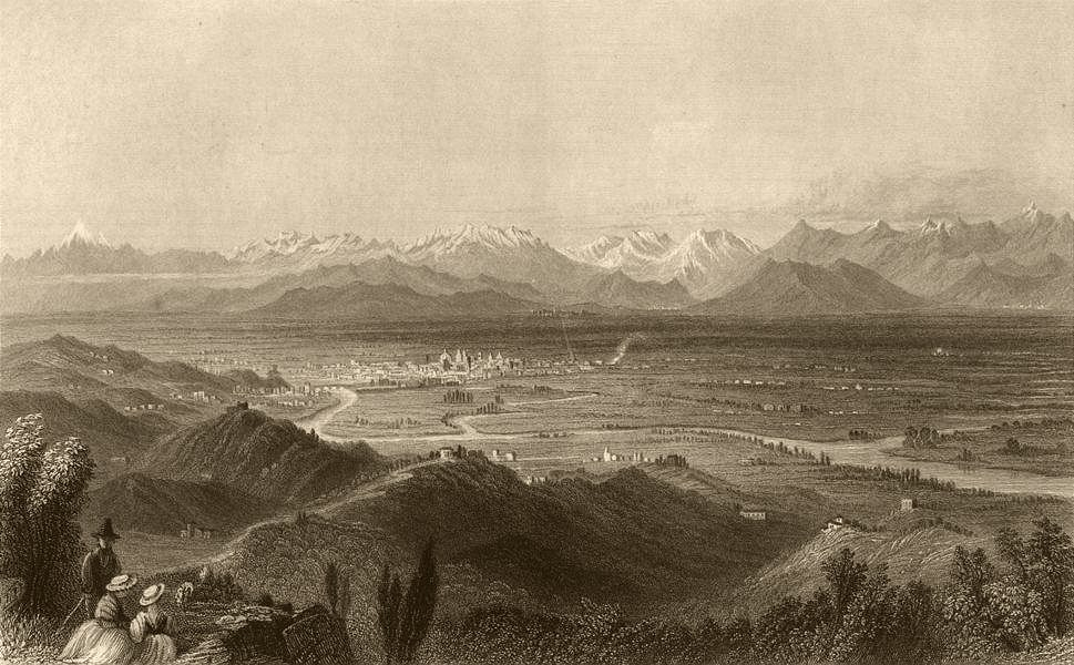 Associate Product PIEMONTE. Turin, and the plain of Piedmont. Torino. BARTLETT 1838 old print